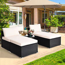 5PCS Outdoor Furniture Set Patio Rattan Wicker Armless Chair Ottoman w/ Cushion