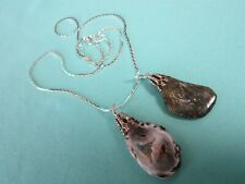 """Lot of 2 Pendants w/ Silver Plated Necklace 18"""" Cobra Chain Agate Geode& Jasper"""