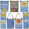 Mini Metal Funny Signs Emoji Emoti Hanging Novelty Toilet Family Home Love Smile