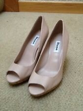 Dune Ladies Cork Wedges Nude Leather Size 5