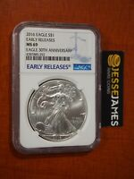 2016 $1 AMERICAN SILVER EAGLE NGC MS69 EARLY RELEASES BLUE LABEL