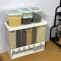 6 in1 Kitchen Wall Mounted Cereal Dispenser Dry Food Storage Container 10Kg W