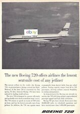 BOEING AIRCRAFT COMPANY 1960 BOEING 720 JET LOWEST SEAT MILE COSTS AD