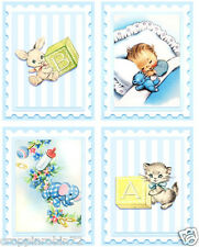 VINTAGE BABY BOY (02) SCRAPBOOK CARD EMBELLISHMENTS HANG GIFT TAGS