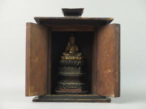 Shakyamuni Shakanyorai Gautama Buddha Wooden Small Statue in Miniature Shrine