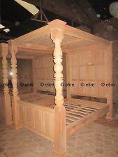 > sur mesure < RAW King Size tudor style bed acajou bois canopy baldaquin