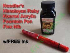 Noodler's Acrylic Konrad Flex Nib Fountain Pen Red Himalayan Ruby w/Free Ink