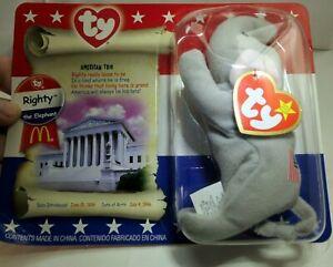 "TY Beanie Babies Righty The Elephant 5"" - new 2000 plush toy"