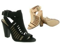 NEW Women's Black Natural Strappy Open Toe Chunky Heel Sandal Shoes Size 5.5 -11
