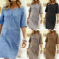 KQ_ Women Vintage Solid Color O Neck  Dress Half Sleeve Pockets Loose Knee-lengt