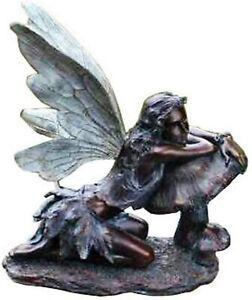 16-1/2-Inch Tall Bronze Fairy on Mushroom