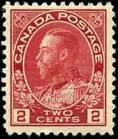 Canada #106 mint F-VF OG H tiny DG 1917 King George V 2c carmine Admiral