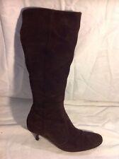 Dune Dark Brown Knee High Suede Boots Size 37
