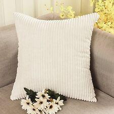 Home Decor Throw Pillow Case Cover 18 x 18 Inches Soft Corduroy Stripes, Cream