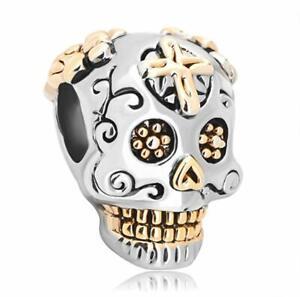 Pandora Charms Skull Cross Silver Plated Dia De Los Muertos Beads