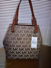 MICHAEL KORS Women MK SIGNATURE Jacquard Grab Bag Convertible Tote Beige Luggage