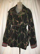 Vintage Mr. Dino Black Velvet Floral Check Jacket  Plus Size   44 Very Funky VGC