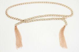 Women Gold Metal Chain Wrap Luxurious Style Belt Hip Waist Tassel Fringes XS S M