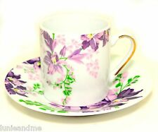Set of 6 Espresso Cups + Saucers Turkish Coffee New Bone China - Purple Violets