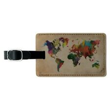 Colorful Rainbow Map of the World Earth Rectangle Leather Luggage Card ID Tag