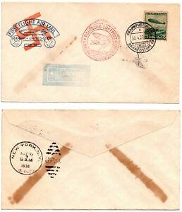 FIRST FLIGHT - HINDENBURG (1938) Frankfort to New York Zeppelin Cover  *RARE*