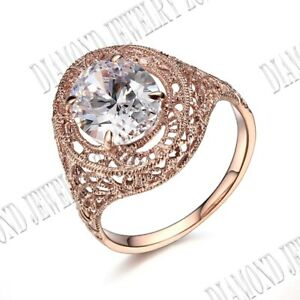 Antique 10K Rose Gold 10x8mm Oval 2.68ct Cubic Zirconia Engagement Wedding Ring