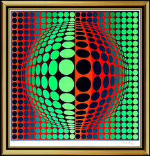 VICTOR VASARELY Original Color SILKSCREEN Vega Art print SIGNED Rare LARGE oil