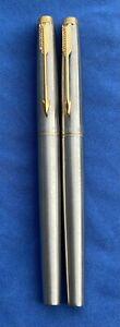"""Parker """"75"""" Brushed Steel Fountain Pen & Felt Pen Set. 14K Fine Nib, Made in USA"""