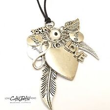 Evil Eye Bohemian Mati Necklace With Angel Wing Peace Infinity Happiness  Charms