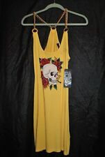ED HARDY Skull & Roses Dress, w/Rhinstones and gold chains, NEW WITH TAGS, Large