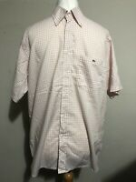 """Men's Lacoste Shirt Large Pink White Check 44"""" Short Sleeve Collar 100% Cotton"""