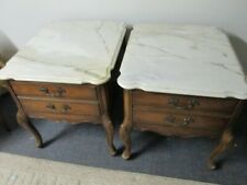 Vintage WEIMAN Side / End Tables with Marble Top & Drawer - PICKUP ONLY