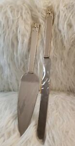 Vera Wang Wedgwood Silver Plated Stainless Steel Love Knots Cake Serving Set New