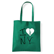 Art T-shirt, Borsa shoulder I Love NY, Verde, Shopper, Mare