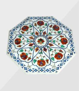 "36"" Center Marble Table Top Handmade Semi precious stones floral art Home Decor"