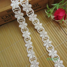 2 Yd White Flower Embroidered Lace Trim Wedding Ribbon Applique DIY Sewing Craft