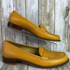 Unisa Poker Womens Orange Loafers Shoes Pebbled Leather Low Block Heel Size 7.5M