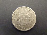 1851 BB 10 RAPPEN Switzerland VF/XF      Foreign Coin