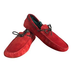 TODS For Ferrari Red Suede Driving Moccasin Made in Italy Men Size 8