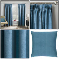 "Teal Blue Thermal Matrix Blockout Lined 3"" Tape Top Pencil Pleat Curtains Pair"