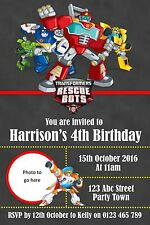 Personalised Transformers Rescue Bots Birthday Party Invitation - You Print