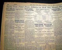 Best BABE RUTH Home Run #1 of Record 60 Season New York Yankees 1927 Newspaper
