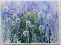 ORIGINAL WATERCOLOR PAINTING DANDELIONS FLOWERS ART BY ARTIST