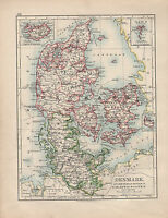 1901 Vittoriano Mappa ~ Danimarca Schleswig-Holstein Laaland Faroe Islanda