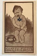 "Antique Comic Masonic Postcard "" Baby in Diaper~Safety First~-k568"
