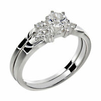 Women's Round Cut AAA CZ Stainless Steel Wedding Ring Set Sz 5-10
