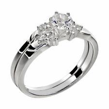 Steel Wedding Ring Set Sz 4-11 Women's Round Cut Aaa Cz Stainless