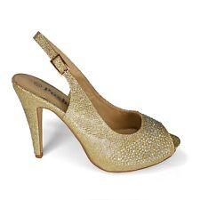 Gold Diamante Glitter Sling Back Heels