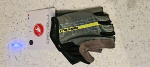 Anthracite & fluo yellow Castelli TEMPO Cycling Gloves mitts Large