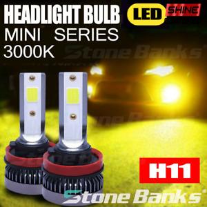2X Mini H8 H9 H11 LED Headlight Kit Fog Light Hi/Lo Beam 3000K Yellow Bulb Light